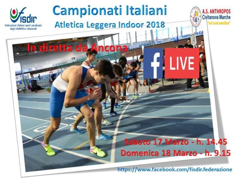 Campionati Italiani di Atletica Indoor: l'evento sarà visibile in DIRETTA dal canale Facebook